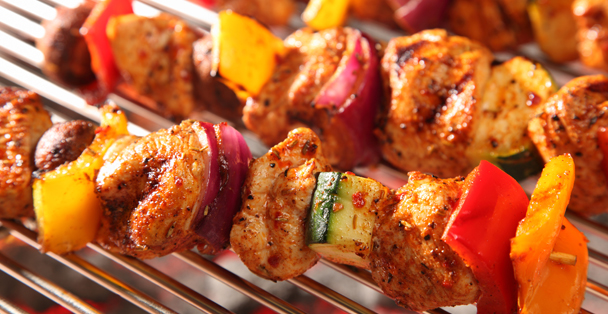 Chicken kabobs on the grill.