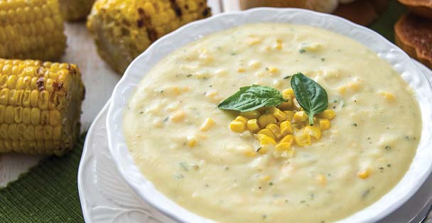 Picture of the roasted corn chowder soup.